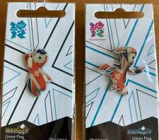 Londres 2012 Pin Wenlock & Mandeville Unión Bandera Pin insignias