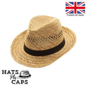 Straw Sun Hat Festival Trilby Holiday Beach Fedora Panama Style Summer Retro Hat