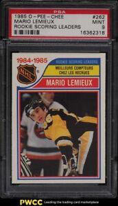 1985 O-Pee-Chee Hockey Mario Lemieux ROOKIE RC SCORING LDRS #262 PSA 9 MINT