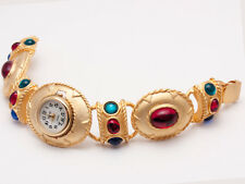 WOMEN'S GOLD FINISH FUNKY MULTI COLOR  OVAL LINKS CASE WHITE DIAL ANALOG WATCH