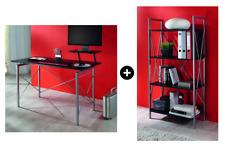 Galdem Büromöbel Set Schreibtisch Regal Computertisch PC-Tisch Büroregal Schwarz