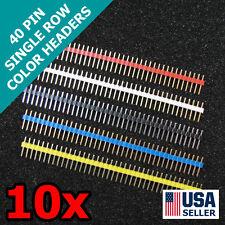 10x 40 Pin Male Header-Red Green White Yellow Black Module Single 1x40 10pcs T24