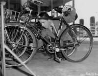 American Actor Humphrey Bogart Checks The Air Of His Bicycle Tyres OLD PHOTO