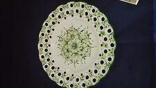 "Portuguese Vestal Alcobaca Pottery Serving Platter Hand Painted Green Floral 14"""
