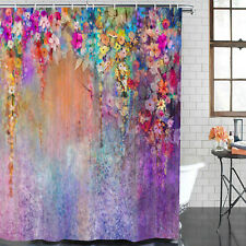 Colorful Print Branch Shower Courtain Art Waterproof Bathroom Courtain w/ Hooks