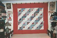 """STRAIGHT FURROW LOG CABIN Quilt in a Border, Dated """"1915"""", Cottons"""