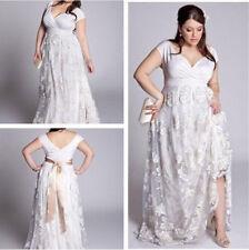 Lace Plus Size White/Ivory Wedding Dress Bridal Gowns Custom 18 20 22 24 26 28 +