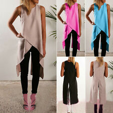 Womens Asymmetric Sleeveless Vest T Shirt Ladies Casual Tunic Long Blouse Tops