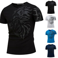 Punk Men Fashion Tops Tees V Neck Lion Print Short Sleeve Fitness T Shirt Tee