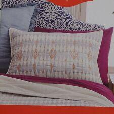 Opalhouse Standard Pillow Sham Diamond Embroidered White Blue Coral Cotton NEW