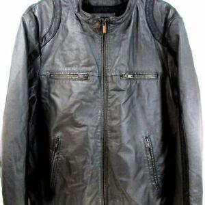Black Rivet Men Grey Cafe Racer Leather Jacket Size L 46 - 48  Nice