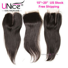 US STock Brazilian Virgin Hair Straight UNice 8A Human Hair Lace Closure 10