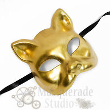 Womens Day of the Dead Lucky Cat Costume Theater Masquerade Mask [Gold]