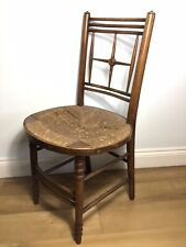 19th C Arts Crafts Ford Maddox Brown Sussex Original Rush Seat Chair Morris Co