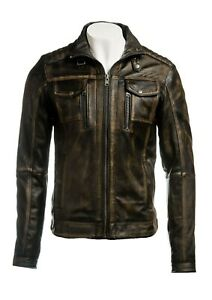 Men's Real Leather Riding Jacket Vintage Thick Cowhide Biker Style