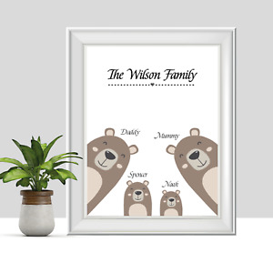 Personalised Bear Family Print, Gifts for Her Mum, Gifts for Him Dad, New House