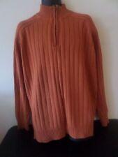COVINGTON - 1/2 Zip Turtleneck Sweater - ORANGE w/Brown Accent - Size X-LARGE