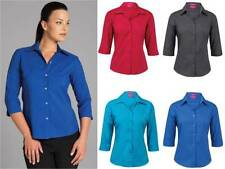 Polyester 3/4 Sleeve Solid Button Down Shirts for Women
