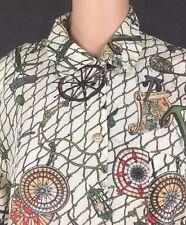 Jack Mulqueen Vintage Button Down Shirt S Silk Nautical Ship Wheel Compass Knots