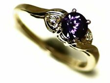Color Change Sapphire Ring Size 5.5, 10k Yellow Gold 0.66 ct Diamond Accents, CC