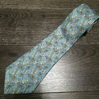 HERMES Paris Neck tie 100% Silk 7597 SA Koalas Koala Blue Red Animal print