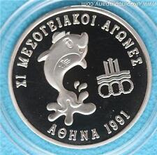 1991 Greece Silver Proof 500 Drachmes Coin Xi Mediterranean Games Scarce Coin