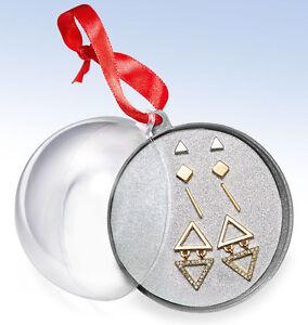 ROBERT ROSE Two-tone Geometric  4-pc Stud EARRING Set w Ornament Gift Box