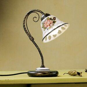 Bedside Lamp Lumetto White Ceramic Classic Hand-Decorated