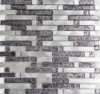 Mosaik Aluminium Glasmosaik schwarz silber Küche Bad Fliesenspiegel 49-0304_b