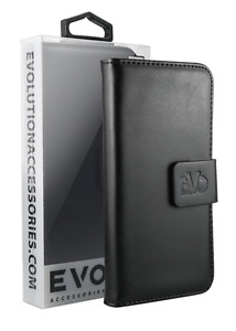 Premium Quality Wallet Case for Apple iPhone 5 by Evo - Black - Fast Delivery