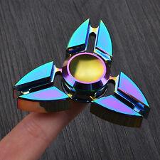 Rainbow Alloy UFO Tri Fidget Hand Spinner Triangle EDC Finger Toy ADHD Autism