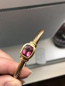 Auth David Yurman 18k 5mm Solid Gold Pink Tourmaline Bangle Cuff Bracelet