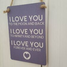 I LOVE YOU TO THE MOON AND BACK LOVE TO INFINITY MINI METAL CHIC N SHABBY SIGN