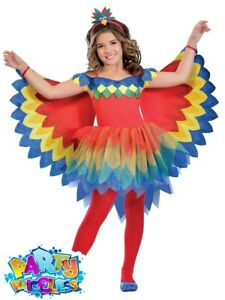 Kids Girls Pretty Parrot Fairy Costume Tutu Book Day Childs Fancy Dress Outfit