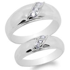 Solid Fancy Band Ring Size 4-12 Men/Ladies Couple Set 10K White Gold