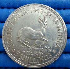 1948 South Africa Suid Afrika 5 Shillings Silver Coin George IVS SEXTVS REX