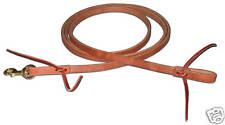"Harness leather 3/4""x8 ft roper rein w/ snap USA single loop rein custom H510"