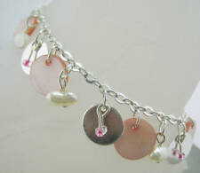 Silvertone Dangling Pink Mother of Pearl/Rice Pearl Ankle Bracelet Anklet