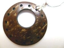 "Hawaii Coconut Shell Pendant w/ 18kgp Metal Ball Chain Necklace 18"" # 50052-1"