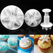 3pcs Snowflake Plunger Cutter Mold Sugarcraft Fondant Cake Decorating Tool