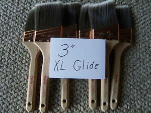 """PURDY paint brushes.  Lot of  6   XL Glide  3"""".  No covers.  New.   Great deal!"""