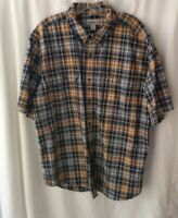 CARHARTT MENS SHORT SLEEVE BUTTON DOWN SHIRT Sz XL Navy & BROWN PLAID two pocket
