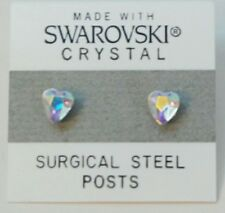 Silver Pink Heart Stud Earrings 8mm Crystal Made with Swarovski Elements Gift