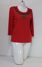 shirt Womens Medium Top Rebecca Malone Red Long Sleeve Collar Design