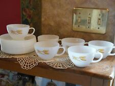 Set of 16  Antique Fire King Vintage Wheat Cups Saucers Coffee Tea Cup Saucer