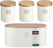 Stylish Typhoon Living Tea Coffee Sugar & Bread Bin Caddy Storage Set - Cream