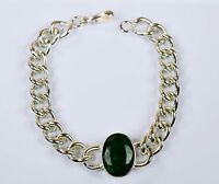 Emerald Gemstone Bracelet Men's Fashion Natural Stainless Steel -IN-40