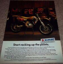 LAMINATED PIC 1990 SUZUKI AD DIRT BIKE RM80 RM125 RM250 VINTAGE OLD YELLOW