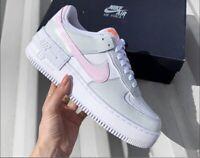 Nike Air Force 1 Shadow White Grey Pink UK