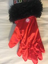NWT~Halloween Devil Costume Adult Gloves~Night Glow~Red & Black Gloves~ Light Up